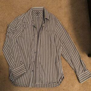 Grey striped button down